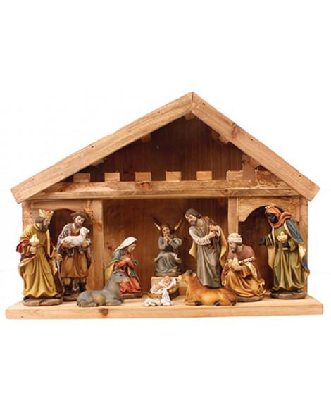 CHRISTMAS NATIVITY SET & WOOD SHED 11FIGURES