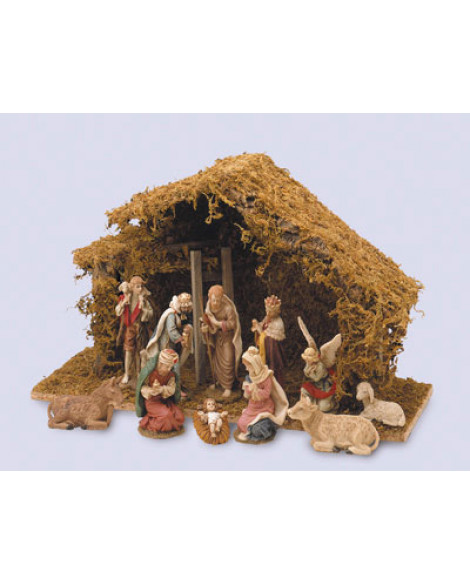 CHRISTMAS NATIVITY SET & SHED 11 FIGURINES LARGE