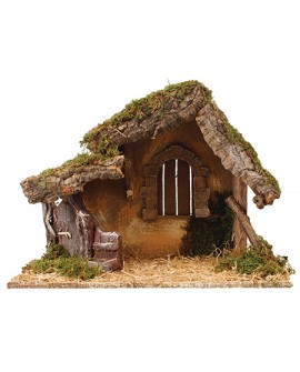 Christmas Nativity Wood Shed Made In Italy