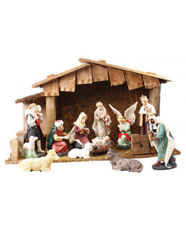 CHRISTMAS NATIVITY SET & WOOD SHED 11 FIGURES