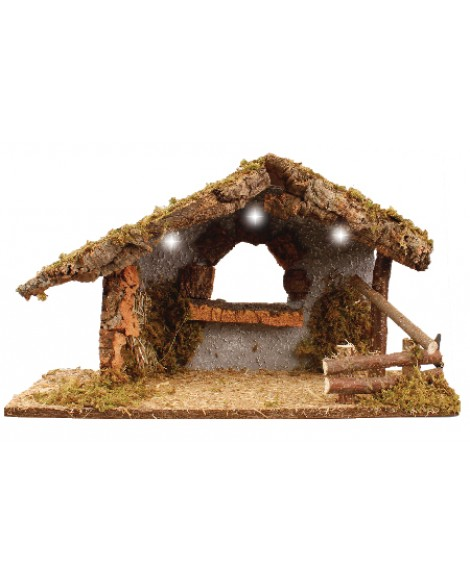 Christmas Nativity Wood Shed Led Lights Made In Italy 30 cm High