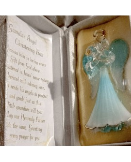 Christening Guardian Angel in a Box Blue