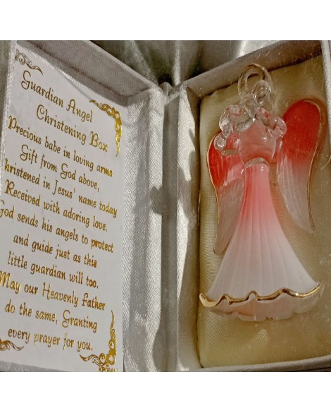 Christening Guardian Angel in a Box Pink