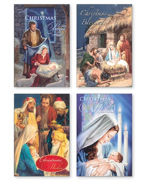CHRISTMAS CARDS PACK OF 4 NATIVITY SCENES