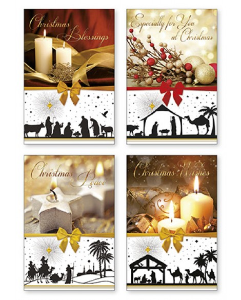CHRISTMAS CARDS PACK 12 NATIVITY SCENES