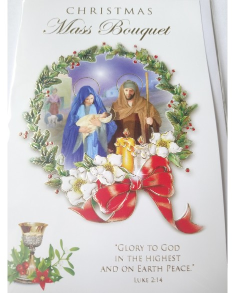 Christmas Mass Bouquet Cards Pack Of 3 Nativity Scene