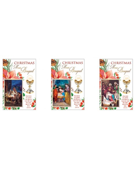 CHRISTMAS MASS BOUQUET CARDS PACK OF 3 NATIVITY SCENES