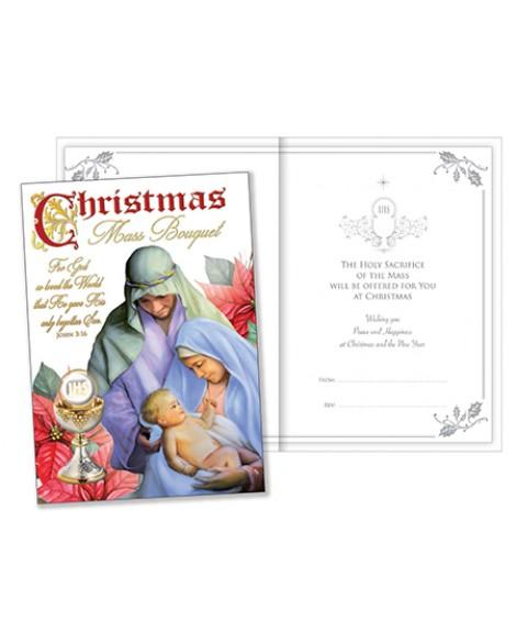 CHRISTMAS MASS BOUQUET CARD  NATIVITY SCENE