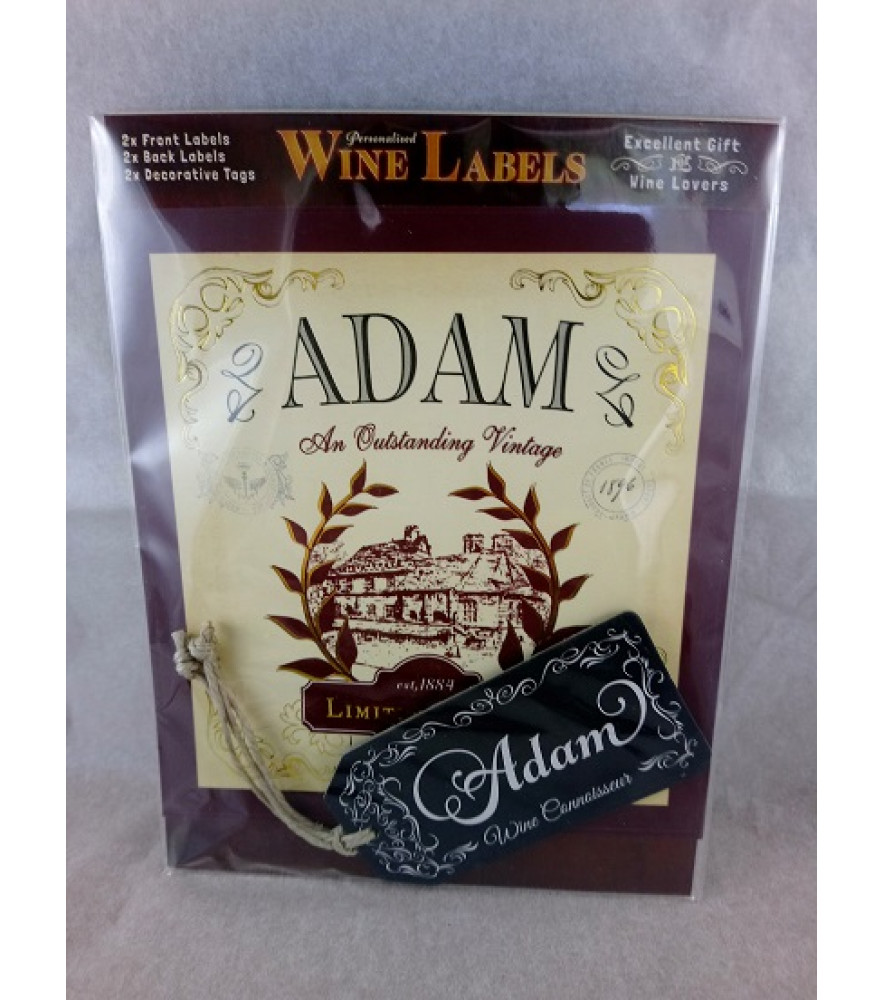 Personalised Gift - Him - Wine Label - Name Adam - Novelty Gift