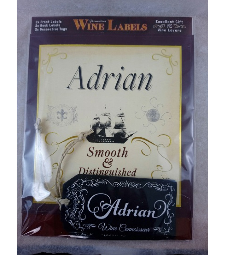 Personalised Gift - Him - Wine Label - Name Adrian - Novelty Gift