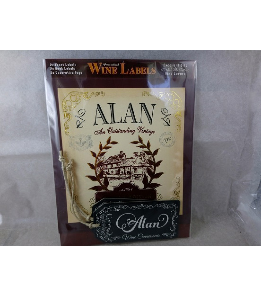 PERSONALISED GIFT HIM WINE LABEL ALAN NOVELTY GIFT