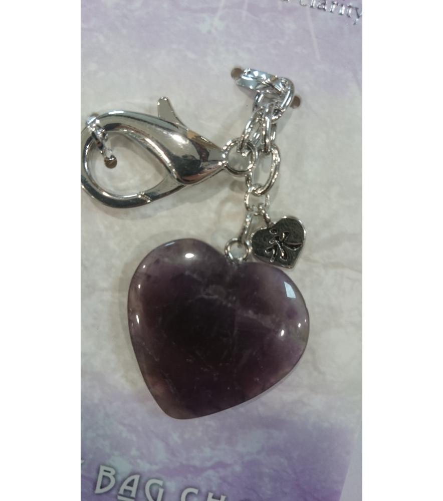 AMETHYST HEART KEY RING BAG CHARM