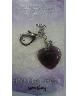 Amethyst Heart Key Ring Bag Charm