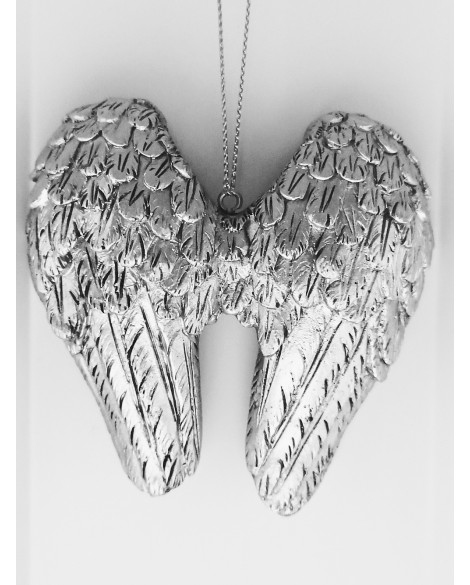 ANGEL WINGS WALL PLAQUE SILVER SHABBY CHIC