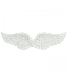 Angel Double Wings Hanging Decoration Glitter White