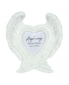 Angel Wings Photo Frame White Glitter