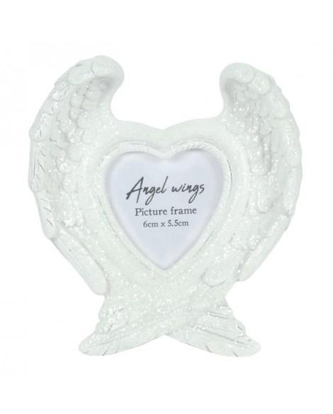 Angel Wings Photo Frame White Glitter