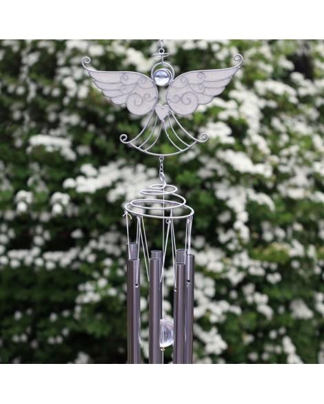 Angel Windchime in Silver With White Glitter Wings