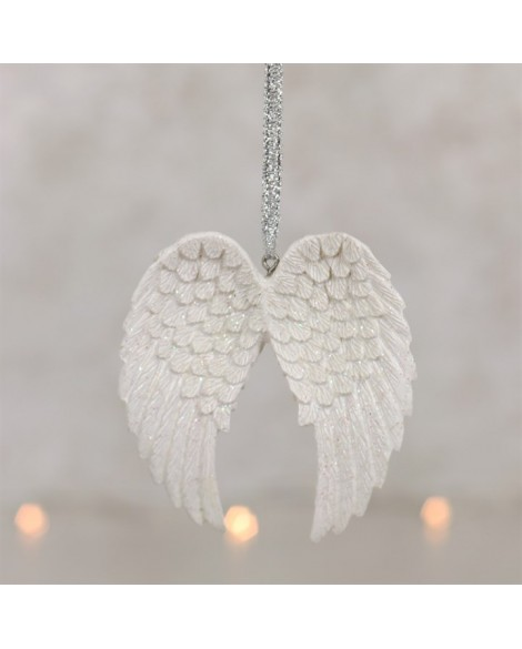 Angel Wings Hanging Decoration Glitter White