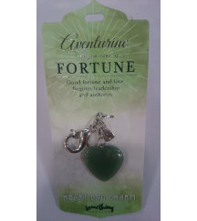GREEN AVENTURINE HEART BAG CHARM