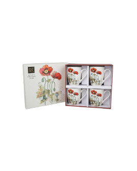 Bug Art Poppy Mugs set of 4