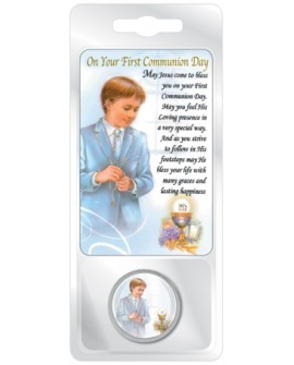 First Holy Communion Token & Prayer Card Set Boy