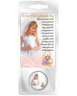 First Holy Communion Token & Prayer Card Set Girl