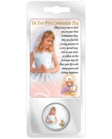 First Holy Communion Token & Prayer Card Set Girl