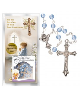 First Holy Communion Card Son & Blue Rosary Set