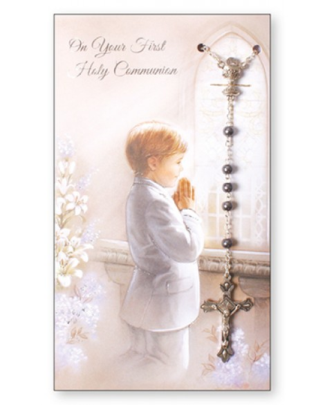 First Holy Communion Card and Rosary Set Boy