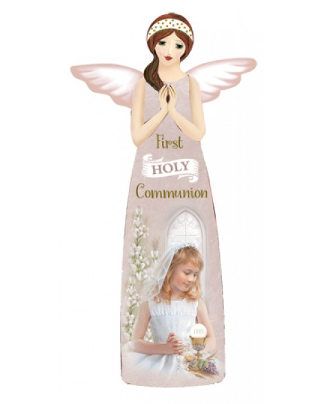 First Holy Communion Porcelain  Angel Plaque Girl