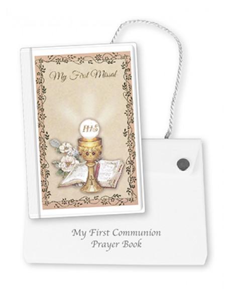 COMMUNION PRAYER BOOK & WHITE CARRIER CASE GIRL