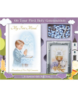 COMMUNION ROSARY & PHOTO FRAME SET BLUE