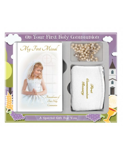 First Holy Communion Rosary Set Girl