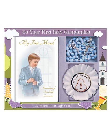 First Holy Communion Rosary & White Rosette Set Blue