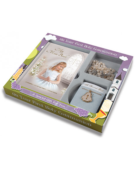 First Communion Rosary & Necklace Set Girl