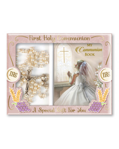 Communion Rosary & Prayer Book Set Girl