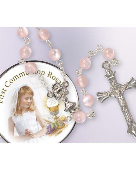Communion Rosary Beads Metal Box Girl
