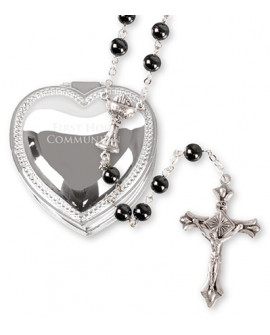 First Holy Communion Hematite Rosary Beads Metal Box Boy