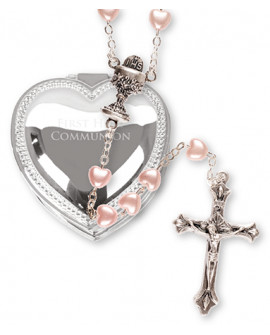 COMMUNION PINK ROSARY BEADS METAL BOX GIRL
