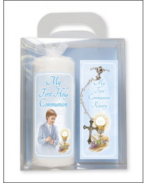 First Holy Communion Candle + Rosary Set Blue