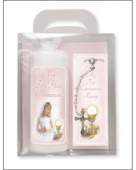First Holy Communion Candle + Rosary Set Pink