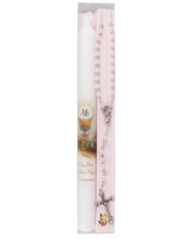 First Holy Communion Candle Set Pink