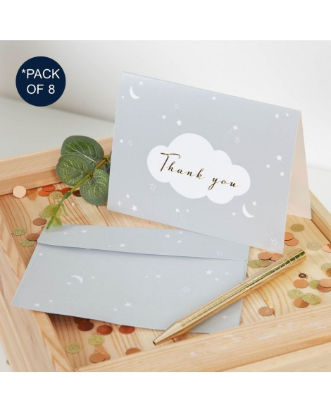 Baby Shower Thank you Cards - 8 Pk -  Grey