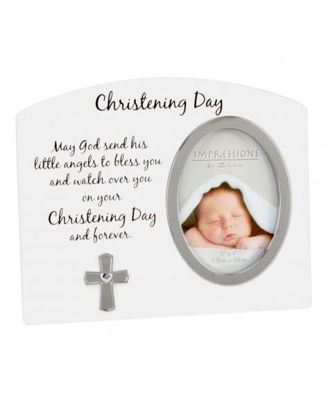 Christening Photo Frame White