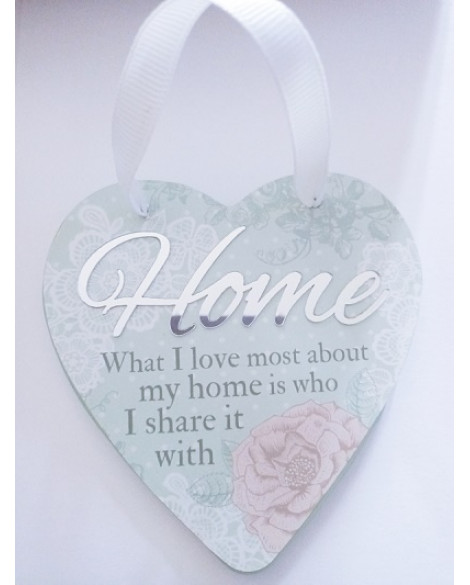 H&H Sentiment Heart Plaque Blessed Home