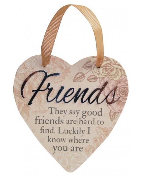 H&H Sentiment Heart Plaque Friends