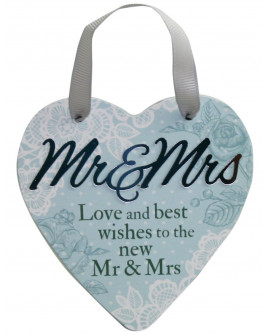 H&H Sentiment Heart Plaque Mr & Mrs
