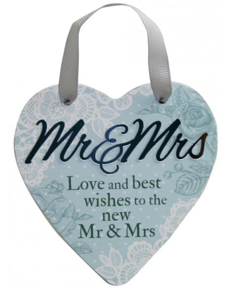 H&H Sentiment Heart Plaque Mr & Mrs