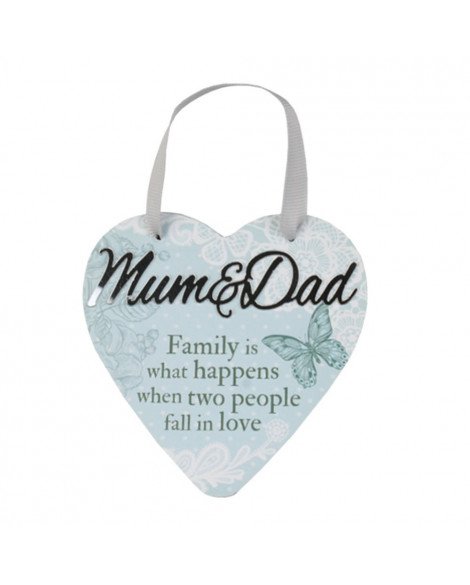 H&H Sentiment Heart Plaque Mum & Dad